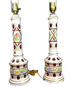 Vintage Pair Of Bohemian White Cased Cut To Cranberry Glass Lamps 33 In Tall