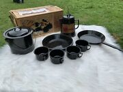 Vintage Frontier Camp Ware 12 Pc Enameled Porcelain On Steel Cookware Dishes 👀