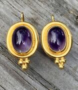 Vintage Temple St.clair 22k Gold Oval Amethyst Cabochon Drop Earrings 8.5g