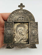 Rare Russian Religious Orthodox Imperial Silver Mother God Travel Icon