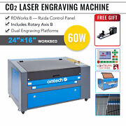 Omtech 60w Co2 Laser Engraver Cutter Ruida With 16x24 In. Bed And Rotary Axis B