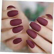 Dark Red Burgundy Matte Luxe Design Press On Nails Full Cover Acrylic Nail