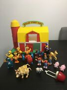 Vintage Sesame Street Farm And 20 Piece Playset By Illco 1990 Used