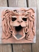 Vintage Signed Handmade Textured 3d Clay Lion Head Garden Wall Fountain Plaque