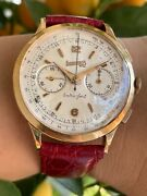 Eberhard Extra Fort Chronograph Solid Gold 18k Mens 39mm 14007-260 Just Serviced