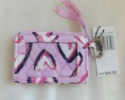 Vera Bradley Petite Zip Around Wallet / Clear Id And Keychain Hearts Iced Pink Nwt
