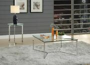 Acme Volusius End Table In Stainless Steel And Clear Glass Finish 84607