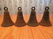 Vintage Set Of 4 Rustic Rusty Cast Iron Metal Bells 4.5 Tall With Hanging Loop