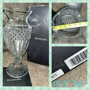 """Waterford Crystal Pedestal Vase Crystal 15.5"""" Tall Vase Scallop Jp Triumph New"""