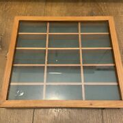 Vintage Divided Display Case Wood Sliding Glass Top Jewelry Box Store Counter
