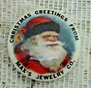 1950and039s Christmas Greetings Santa Pinback Button Maxand039s Jewelry Company - Detroit