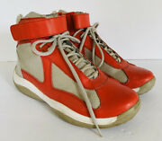 Vintage Prada 7 Color Block High Top Athletic Moon Boot Shoes Red Gray