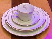 Noritake Lockleigh White Scapes Gold Dinner Place Setting 5 Pc Fine China New