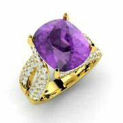 Genuine 5 Carat Diamond Natural Amethyst Ring 14k Solid Yellow Gold Size 5 6 7 8