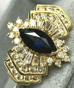 14k Yellow Gold Marquise Royal Blue Sapphire Baguette Diamond Halo Vintage Ring