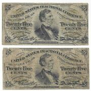 Lot Of 2 - 25 Cent Fractional Notes Us Currency 3rd Issue Fr 1294 Green Reverse