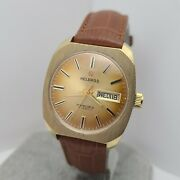 Vintage Helbros 17jewels Menand039s Manual Winding Watch Lorsa P76 Day/date 1970s
