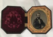 Antique Tin Type Tintype Photo Nice Union Case Unmarried Bearded Handsome Man