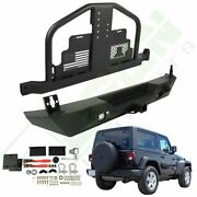 Rear Steel Replacement Bumper W/ Tire Carrier And Leds For 07-18 Jeep Wrangler Jk
