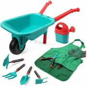 Kids Gardening Tools Toys Set With Watering Can Wheelbarrow Outdoor Indoor Toys