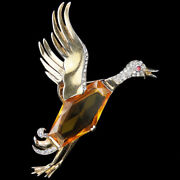 Trifari Sterling Philippe Faceted Topaz Belly Flying Duck Or Goose Bird Pin