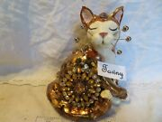 'tawny' Topaz Cat Original Whimsiclay By Amy Lacombe, + Free Gift Too