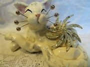 'rhiannon' White Cat Original Whimsiclay By Amy Lacombe, + Free Gift Too