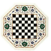 14 Inch Marble Coffee Table Top With Check Pattern Game Table Top For Kids Room