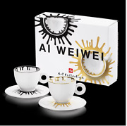 Illy Art Collection Ai Weiwei 2 Cappuccino Coffee Cups Set Signed Limited E.