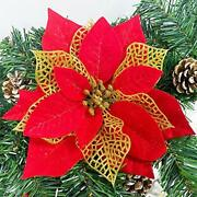 24 Pack 6 Inch Christmas Glitter Poinsettia Artificial Silk Flowers Picks Red