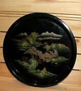 Vintage Asian Hand Painted Lacquer Wood Round Tole Tray Landscape