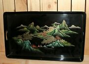 Vintage Asian Hand Painted Lacquer Wood Tray Mountain Landscape