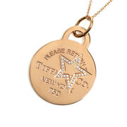 And Co. Return To Etched Star Round Diamond Pendant Necklace 18k Rose Gold
