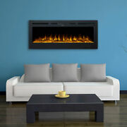 50 Inch Electric Heater Recessed / Wall Mounted Fireplace Insert Remote Controls