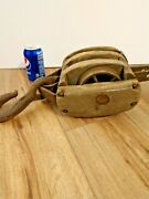 Vintage Wooden Triple Pulley Block And Tackle Distressed Rusty Steel 19 Long