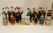 Vtg Civil War Chess Set Handcarved Handpainted 32 Pieces Artist-made In Russia