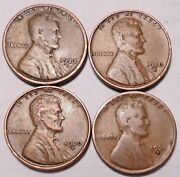 1923 S 1930 S 1930 D 1931 D Lincoln Wheat Cent Penny - 4 Coins - Free Shipping