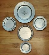 Vintage Pewter Silver Pl. Trophy Plates Lot Of 5 - Wilton Columbia Rwp 1982-1990