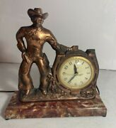 Vintage United Clock Co Copper Cowboy Western Clock Made In The Usa Tested Works