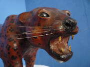 Very Rare Antique Leather Leopard Cat From The 1940s