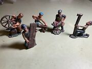 Barclay Manoil Lead Toy Figures Workers Blacksmith Saw Station 3 Tall Antique