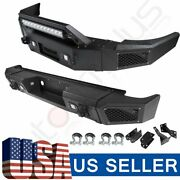 Front Rear Bumper Guard Textured Steel With Led For Silverado Sierra1500 07-13