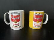 Andy Warhol Campbell's Soup Lot Of 2 Rare Vintage Block Mugs
