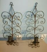 Antique Pair Black Metal Scroll Wall Sconce Candle Holder Spanish Revival Gothic