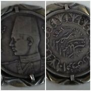 10 Qirsh 1937 Kingdom Egypt 🇪🇬 King Farouk Silver Coin And Sterling Keychain 925