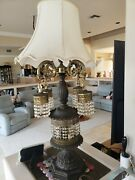 Hollywood Regency Brass Crystal Prisms Waterfall Table Lamp 43 Rare Vintage