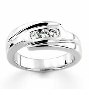 0.30 Carat Natural Diamond Engagement And Wedding 14k Solid White Gold Mens Bands
