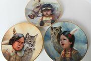 Pride Of America's Indian Children Plates By Perillo Vague Shadows Set Of 3