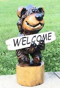 Chainsaw Carved Bear Carving Welcome Sign Wooden Log Cabin Rustic Country Decor