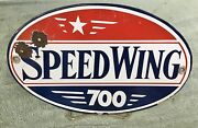 Rare Vintage Andbullspeedwing 700andbull Gas Pump Porcelain Sign Old Oil Can Service Station